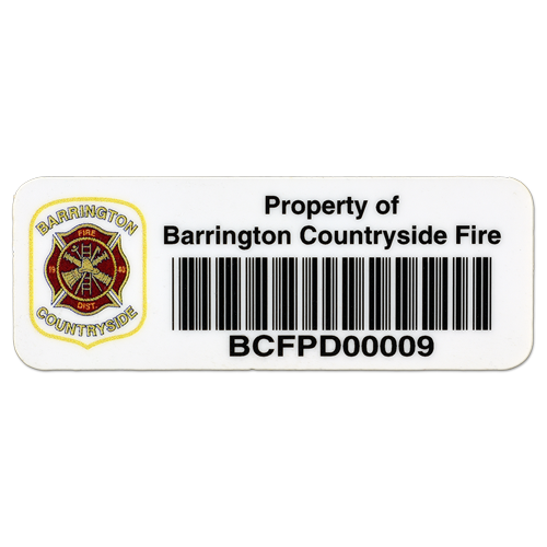 Polyester Asset Label with Barcode