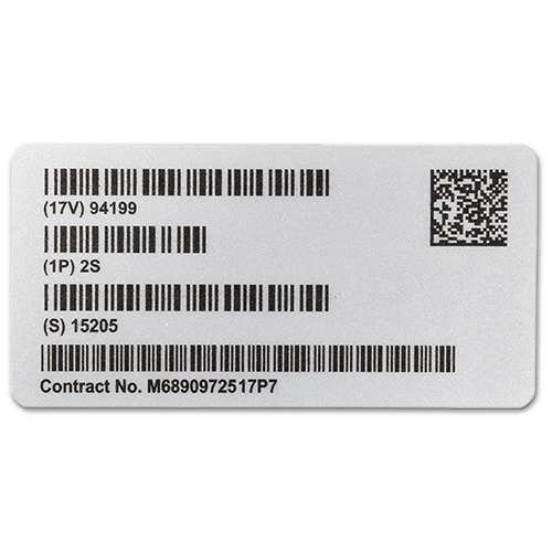 Metalized Polyester UID Label for Mil-Std-130