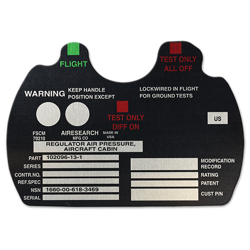 Custom Nameplate for Aerospace